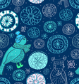 winter seamless background with birds vector image vector image