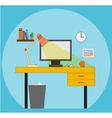 Working space with computer lamp picture watch vector image vector image