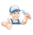 wrench man over banner thumbs up vector image vector image