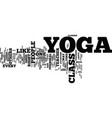 yoga class text background word cloud concept vector image vector image