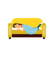 young woman sleeping on the sofa under blanket vector image vector image