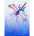 Background With Purple Watercolor Dragonfly vector image
