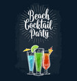 green blue and red cocktail with slice lime vector image