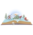 Open book about Santa and christmas tree vector image
