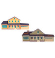 abandoned old house and new cottage vector image vector image