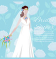 beautiful bride holding a bouquet for wedding vector image