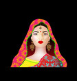 beautiful indian young woman in colorful sari vector image