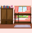 bedroom with bunkbed and closet vector image vector image