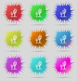 Cactus icon sign A set of nine original needle vector image