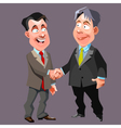 cartoon joyful men in suits and ties shake hands vector image