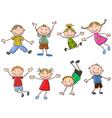 Cartoon many kids jumping together and happy vector image