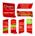 christmas ribbons xmas holiday red fabric sale vector image vector image