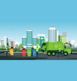 city waste trucks vector image