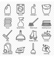 cleaning wash line icons washing machine sponge vector image vector image