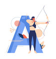 creative sport letter a and woman with bow vector image