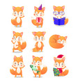 cute little fox in action set raster vector image vector image