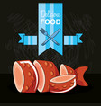delicious fresh fish icon vector image