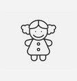 doll toy icon on white background line style vector image vector image