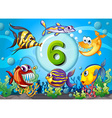 flashcard number six with 6 fish underwater vector image vector image