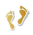 foot prints sign golden gradient icon vector image