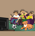 friends and a dog vector image