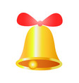 gold bell with red ribbon realistic design vector image