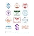 grunge stamp postal round frames pattern blank vector image