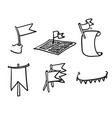 hand drawn doodle flag related icon collection vector image vector image