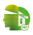 head think green home energy ecological vector image vector image