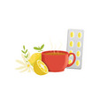 herbal tea in a red cup lemon chamomile and vector image vector image