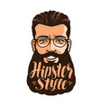 hipster style lettering portrait happy vector image vector image