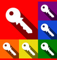 key sign set of icons with vector image vector image
