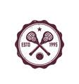 lacrosse vintage badge emblem with sticks ball vector image
