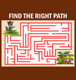 maze game finds the wolf way get to girl red hoode vector image