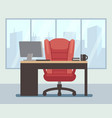 modern boss room with big window and laptop on vector image