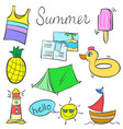 object colorful summer doodles style vector image vector image