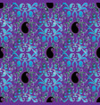 paisleys seamless pattern violet floral vector image