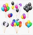 realistic balloons bunches flying colorful party vector image