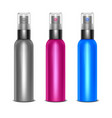 realistic detailed 3d blank spray color bottles vector image vector image