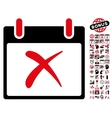 Reject Calendar Day Flat Icon With Bonus vector image vector image