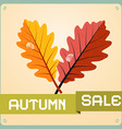 Retro Autumn Sale Background With Oak Leaves vector image