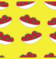 seamless background with tomatoes on a plate vector image