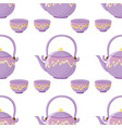 seamless pattern tile cartoon with kettle and vector image