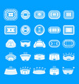 selfie video photo people icons set simple style vector image vector image