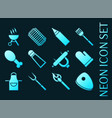 ser barbecue blue glowing neon icons vector image
