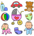 set of cute toys art vector image vector image