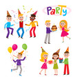 set of friends having fun at birthday party vector image vector image