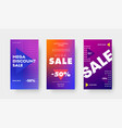set purple gradient banners with triangles and vector image vector image