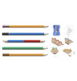 sharpened colorful pencils stationery set and vector image