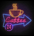 shining and glowing neon coffee sign in arrow vector image vector image